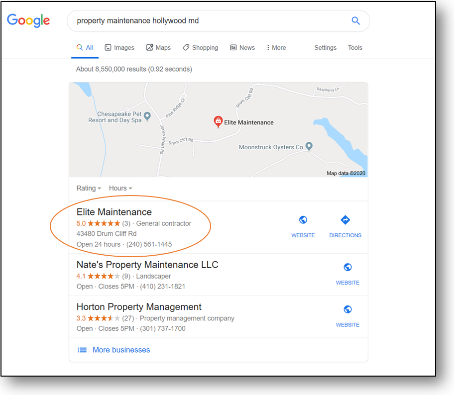 our client ranking number one through local search engine results