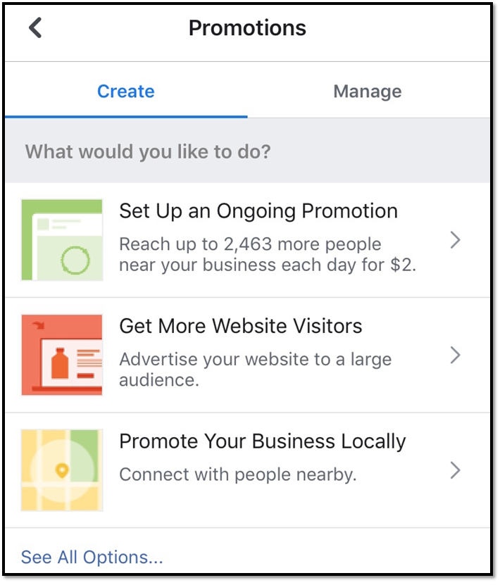 setting up promotions facebook ad management