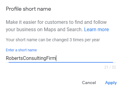 adding a shortname to google my business