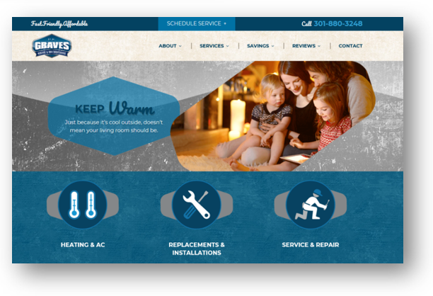 Graves heating and air repetition website design principle
