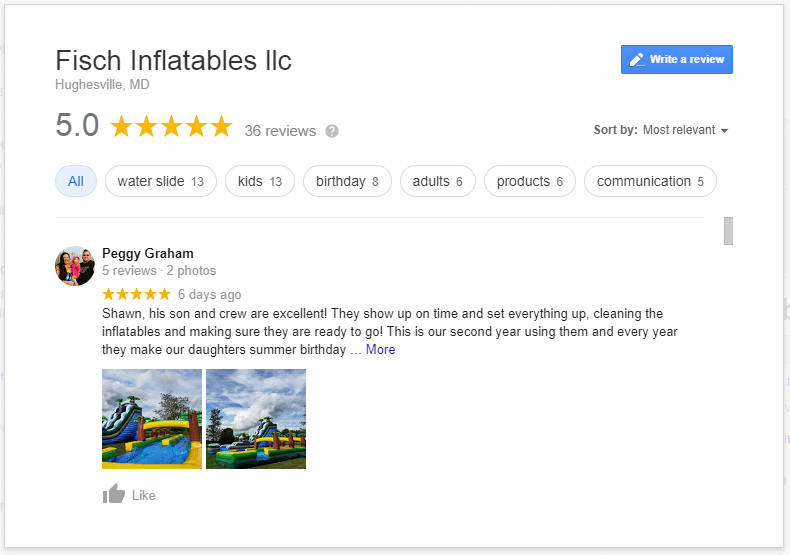 google reviews for a party rental business in southern maryland