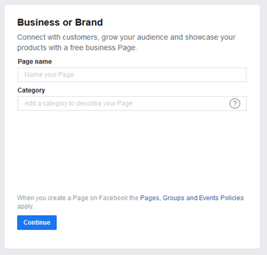 choose business or brand fb biz page