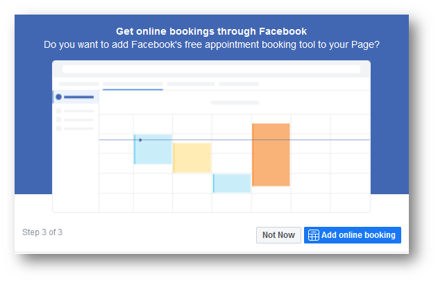 facebook add a booking feature